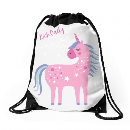 Sweet Little Unicorn Drawstring Bags Designed By Cangcut Fantom