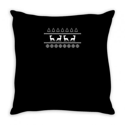 Christmas Jumper Reindeer Funny Tshirt Throw Pillow Designed By Alex
