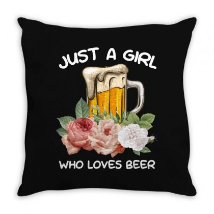 Just A Girl Who Loves Beer For Dark Throw Pillow Designed By Sengul