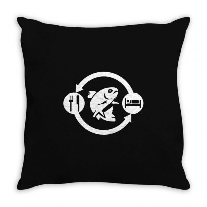 Eat Sleep Fish Repeat Throw Pillow Designed By Gooseiant