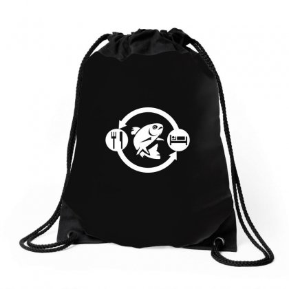 Eat Sleep Fish Repeat Drawstring Bags Designed By Gooseiant