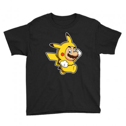 Pikachu Mario Youth Tee Designed By Gooseiant