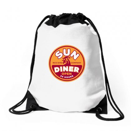 Sun Diner Record Rooster Drawstring Bags Designed By Gooseiant