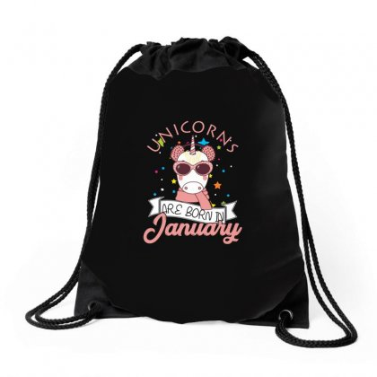 Unicorns Are Born In January T Shirt Drawstring Bags Designed By Hung