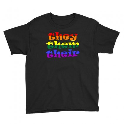 They Them Their   Lgbt T Shirt Youth Tee Designed By Hung