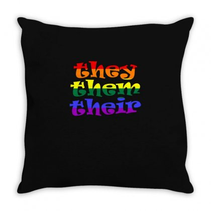 They Them Their   Lgbt T Shirt Throw Pillow Designed By Hung