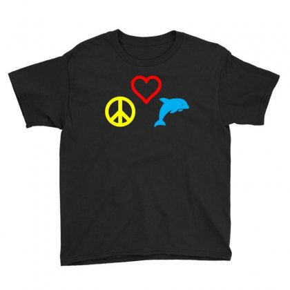 Peace Love Dolphin T Shirt Youth Tee Designed By Hung