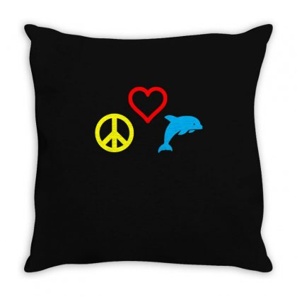 Peace Love Dolphin T Shirt Throw Pillow Designed By Hung