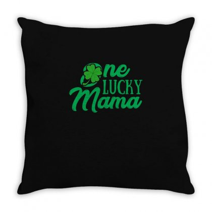 One Lucky Mama T Shirt Throw Pillow Designed By Hung