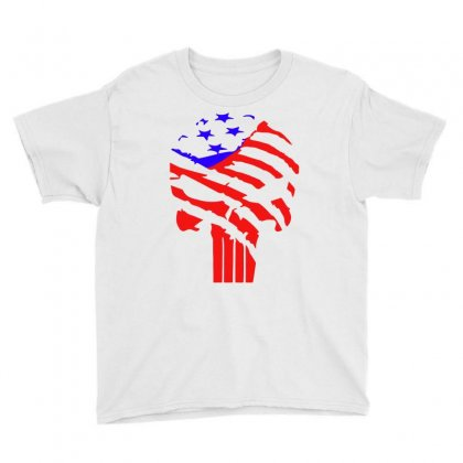American Flag Punisher Youth Tee Designed By Hot Design