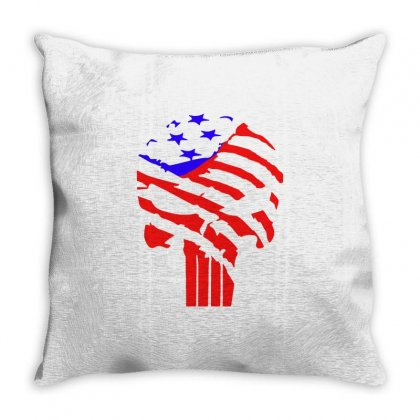American Flag Punisher Throw Pillow Designed By Hot Design