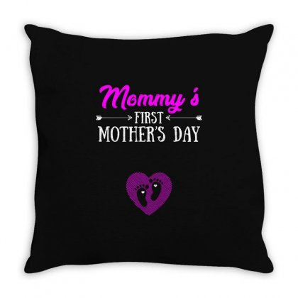 Mommys First Mothers Day T Shirt Throw Pillow Designed By Hung