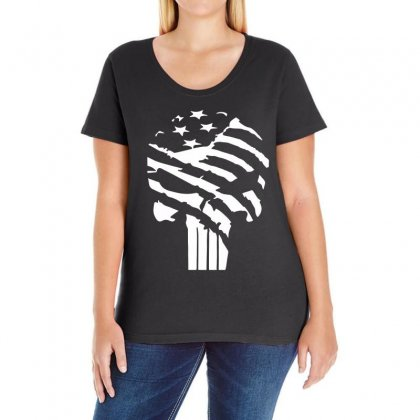 American Flag Punisher Ladies Curvy T-shirt Designed By Hot Design