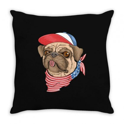 American Dog Throw Pillow Designed By Wizarts