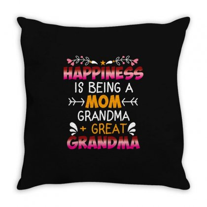 Happiness Is Being A Mom Grandma Great Grandma Throw Pillow Designed By Wizarts