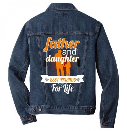 Father And Daughter Best Friends For Life Men Denim Jacket Designed By Wizarts