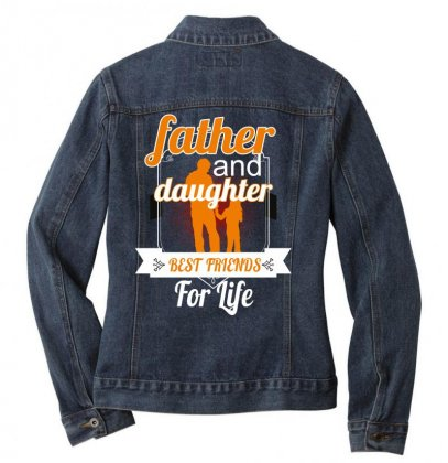 Father And Daughter Best Friends For Life Ladies Denim Jacket Designed By Wizarts