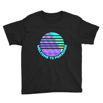 Welcome To Paradise Vaporwave Sun Youth Tee Designed By Seniha