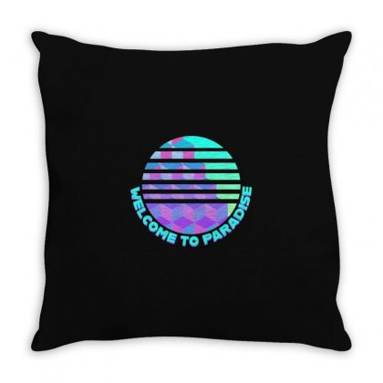 Welcome To Paradise Vaporwave Sun Throw Pillow Designed By Seniha