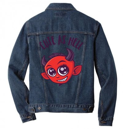 Cute As Hell Devil With Dark Text Men Denim Jacket Designed By Fizzgig
