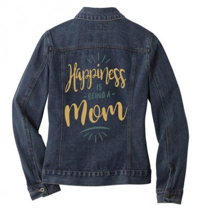 Happiness Is Being A Mom Ladies Denim Jacket Designed By Cidolopez