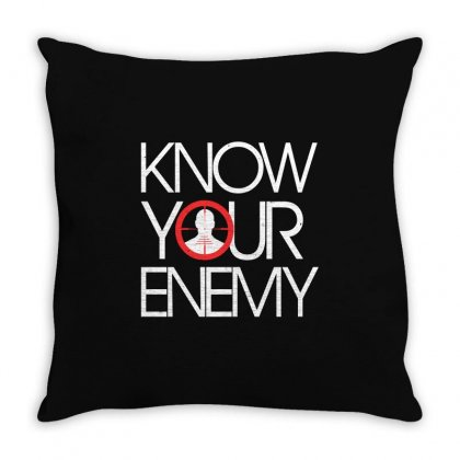 Know Your Enemy Throw Pillow Designed By Flupluto