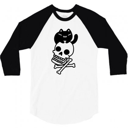 Cat And Crossbones Funny Tshirt 3/4 Sleeve Shirt Designed By Alex