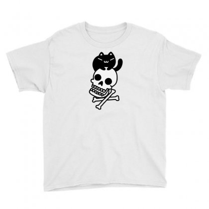 Cat And Crossbones Funny Tshirt Youth Tee Designed By Alex