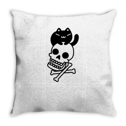 Cat And Crossbones Funny Tshirt Throw Pillow Designed By Alex