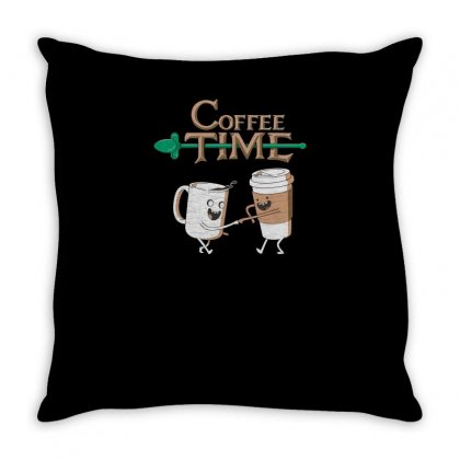 Coffee Time Funny Tshirt Throw Pillow Designed By Alex