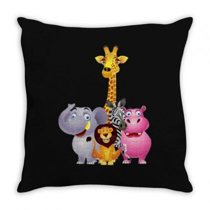 Animal Group Throw Pillow Designed By Fejena