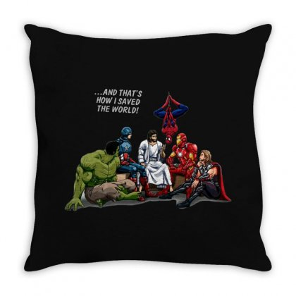 And That's How I Saved The World Jesus Throw Pillow Designed By Fejena