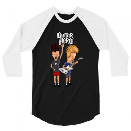 Beavis And Butthead Playing Guitar Hero 3/4 Sleeve Shirt Designed By Fejena