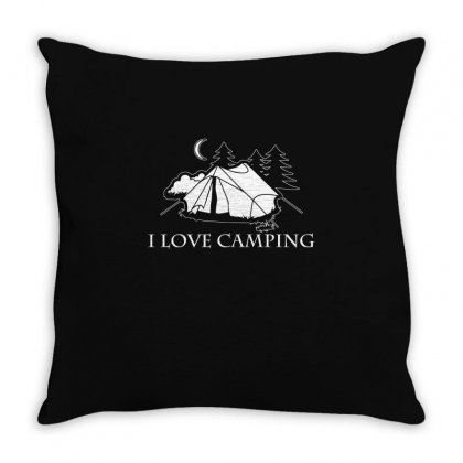 I Love Camping T Shirt Throw Pillow Designed By Hung