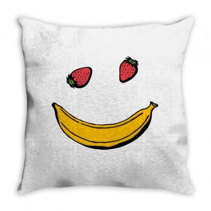 Banana + Straberry Face Throw Pillow Designed By Fejena