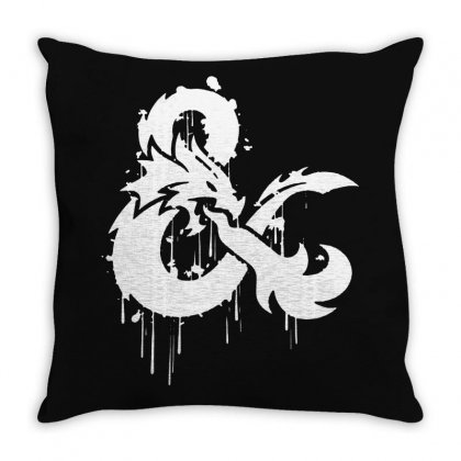 Dungeons & Dragons Stylized Logo (white) Throw Pillow Designed By Frizidan