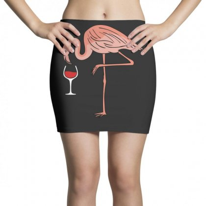 Wine Lovers Pink Flamingo T Shirt Mini Skirts Designed By Hung