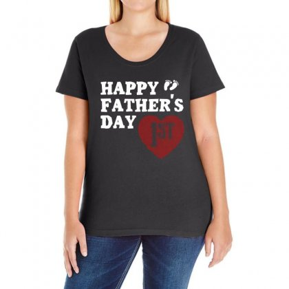 Happy 1st Fathers Day T Shirt Ladies Curvy T-shirt Designed By Hung