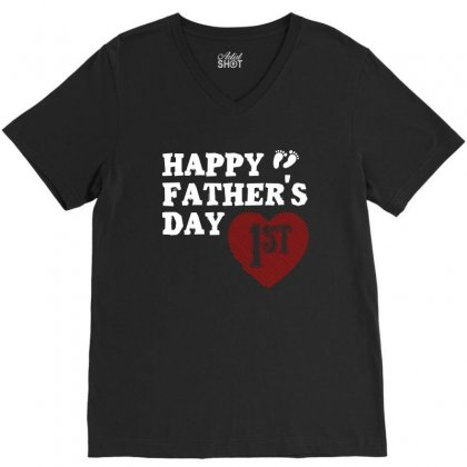 Happy 1st Fathers Day T Shirt V-neck Tee Designed By Hung