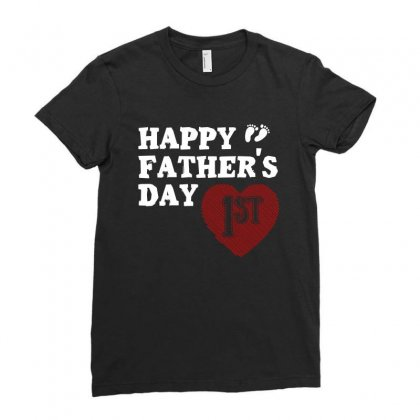 Happy 1st Fathers Day T Shirt Ladies Fitted T-shirt Designed By Hung