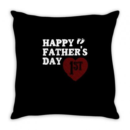Happy 1st Fathers Day T Shirt Throw Pillow Designed By Hung