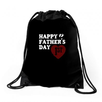 Happy 1st Fathers Day T Shirt Drawstring Bags Designed By Hung