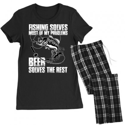 Fishing Solves Most My Problems T Shirt Women's Pajamas Set Designed By Hung