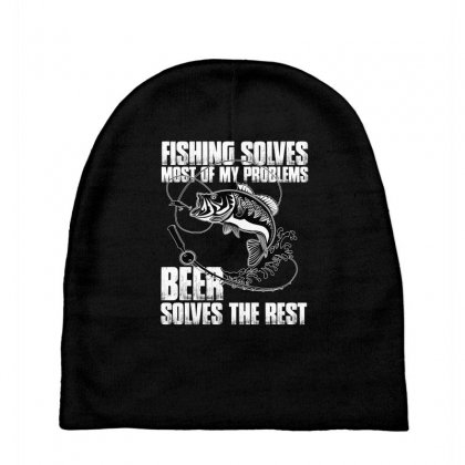 Fishing Solves Most My Problems T Shirt Baby Beanies Designed By Hung