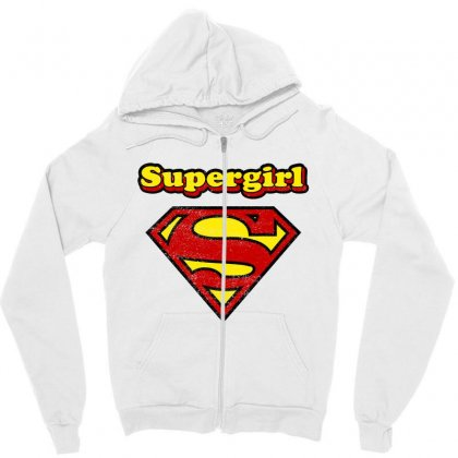 Supergirl Zipper Hoodie Designed By Nurbetulk