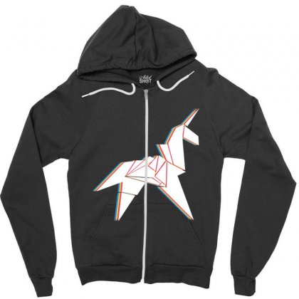Origami Unicorn Zipper Hoodie Designed By Sengul