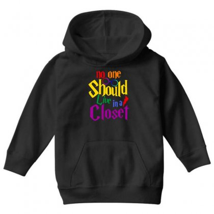 No One Should Live In A Closet Youth Hoodie Designed By Sengul