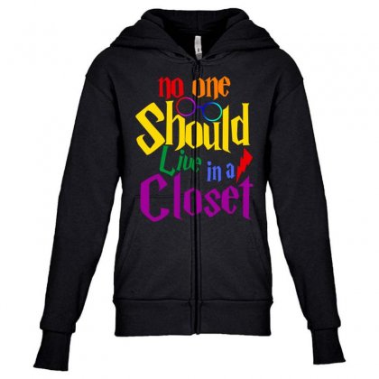 No One Should Live In A Closet Youth Zipper Hoodie Designed By Sengul
