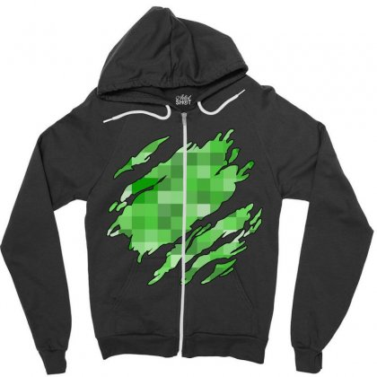 Minecraft Creeper Zipper Hoodie Designed By Sengul