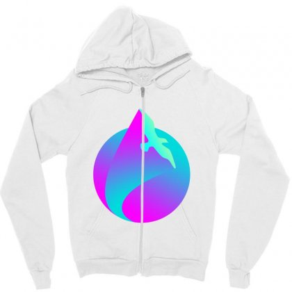 Vaporwave Gradient  Bird Flying Zipper Hoodie Designed By Seniha